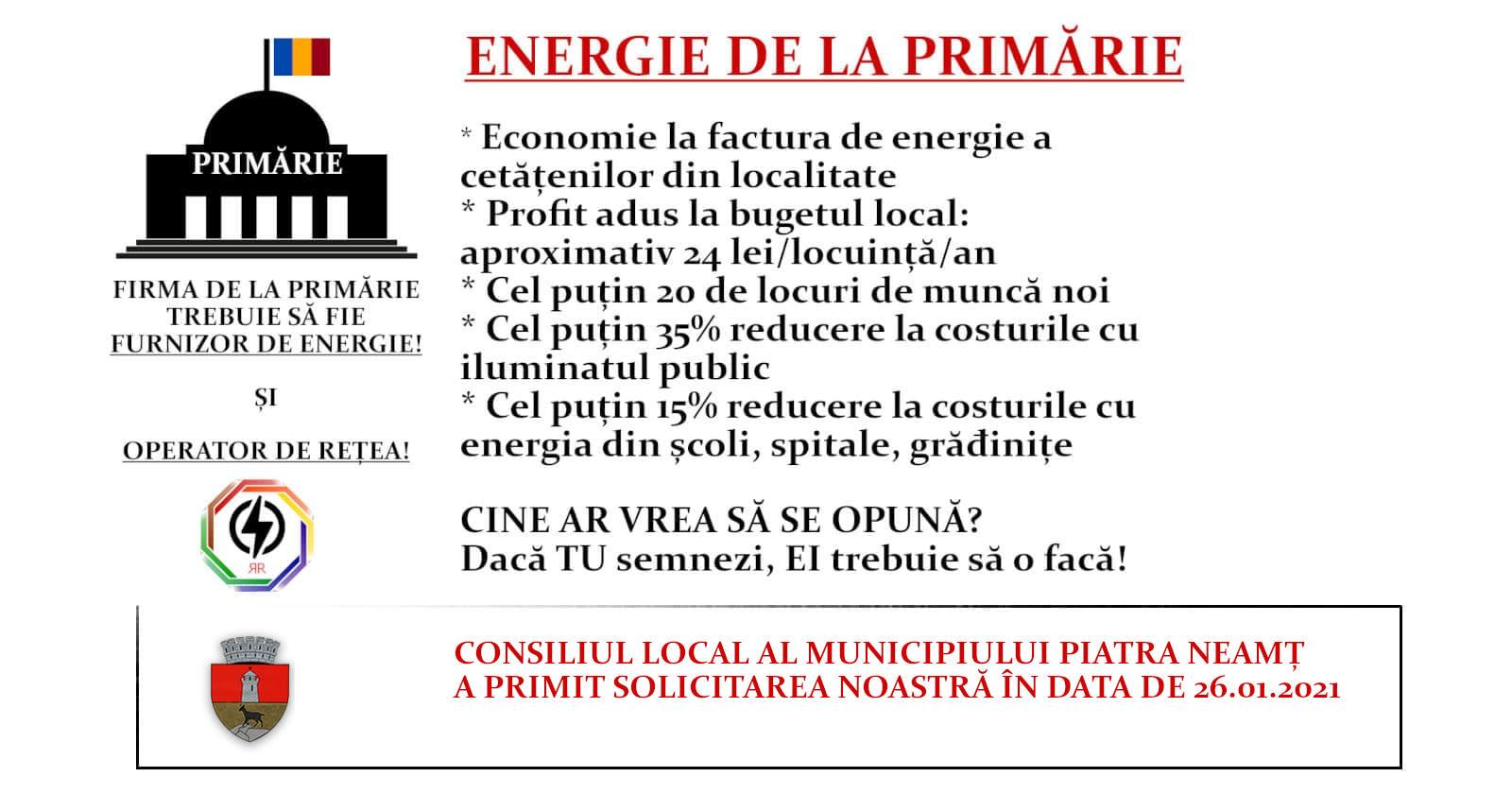 Solicitarea adresată Consiliului Local Piatra Neamț